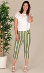 Striped Crop Stretch Trousers Lime/White/Black - Gallery Image 1