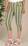 Striped Crop Stretch Trousers Lime/White/Black - Gallery Image 4