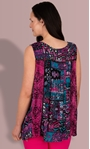Sleeveless Panelled Embellished Print Top Magenta/Pacific Blue - Gallery Image 2