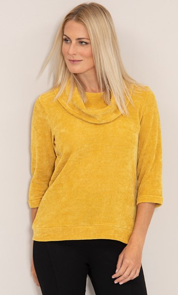 Cowl Neck Knit Top - Mustard