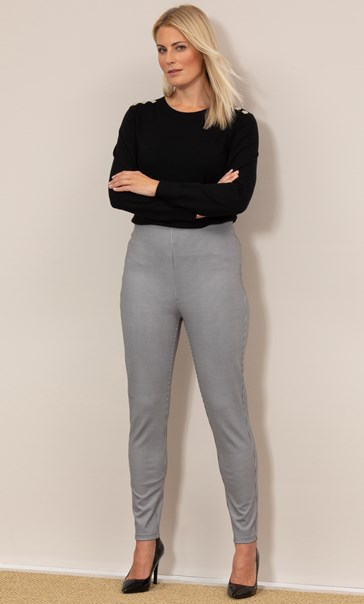 Slim Leg Pull On Dogtooth Trousers