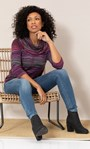 Stripe Print Cowl Neck Knit Top Pink/Grey - Gallery Image 1
