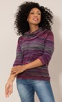 Stripe Print Cowl Neck Knit Top Pink/Grey - Gallery Image 2