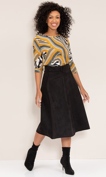 Suedette Belted A Line Midi Skirt