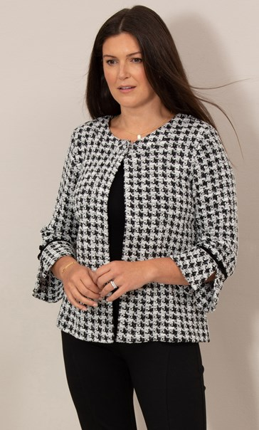 Cropped Dogtooth Textured Jacket Black/White