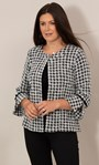 Cropped Dogtooth Textured Jacket Black/White - Gallery Image 1