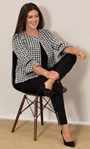 Cropped Dogtooth Textured Jacket Black/White - Gallery Image 2