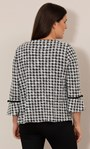 Cropped Dogtooth Textured Jacket Black/White - Gallery Image 3