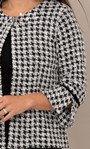 Cropped Dogtooth Textured Jacket Black/White - Gallery Image 4