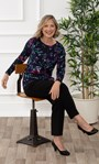 Anna Rose Botanical Brushed Knit Top With Necklace Midnight/Multi - Gallery Image 1