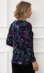 Anna Rose Botanical Brushed Knit Top With Necklace Midnight/Multi - Gallery Image 2