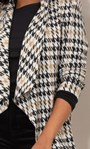 Dogtooth Open Knit Cardigan Black/White - Gallery Image 6