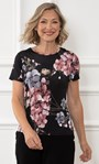 Anna Rose Floral Short Sleeve Jersey Top Black/Pink - Gallery Image 1