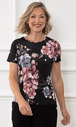 Anna Rose Floral Short Sleeve Jersey Top