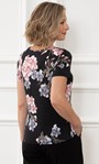 Anna Rose Floral Short Sleeve Jersey Top Black/Pink - Gallery Image 2