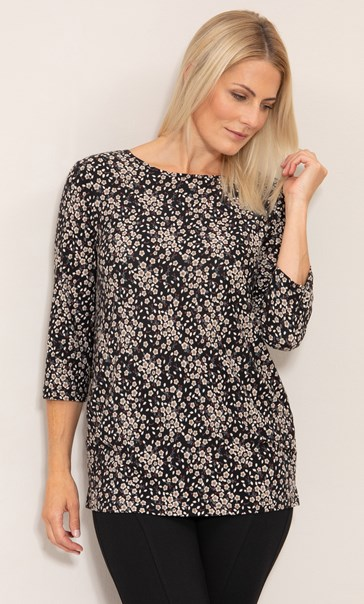 Floral Printed Jersey Tunic Black/Pink