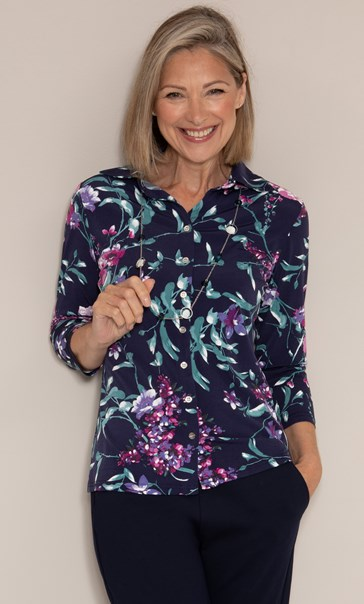 Anna Rose Floral Textured Jersey Shirt With Necklace Midnight/Multi