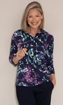 Anna Rose Floral Textured Jersey Shirt With Necklace Midnight/Multi - Gallery Image 1