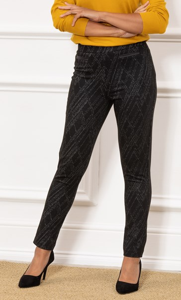 Pull On Printed Fitted Trousers