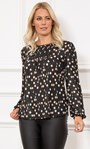 Spotted Long Sleeve Shimmer Jersey Top Black/Multi - Gallery Image 1