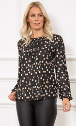 Spotted Long Sleeve Shimmer Jersey Top