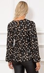 Spotted Long Sleeve Shimmer Jersey Top Black/Multi - Gallery Image 3
