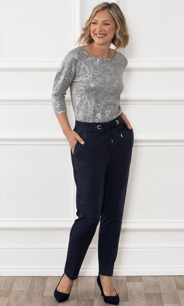 Anna Rose Spotted Straight Leg Trousers Midnight