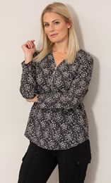 Floral Printed Lightweight Zip Tunic