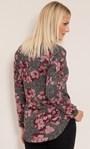 Floral Lightweight Knit Zip Tunic Black/Pink - Gallery Image 3