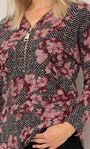 Floral Lightweight Knit Zip Tunic Black/Pink - Gallery Image 4
