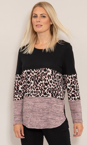 Panelled Print And Plain Knitted Tunic