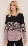 Panelled Print And Plain Knitted Tunic Pink/Black - Gallery Image 2
