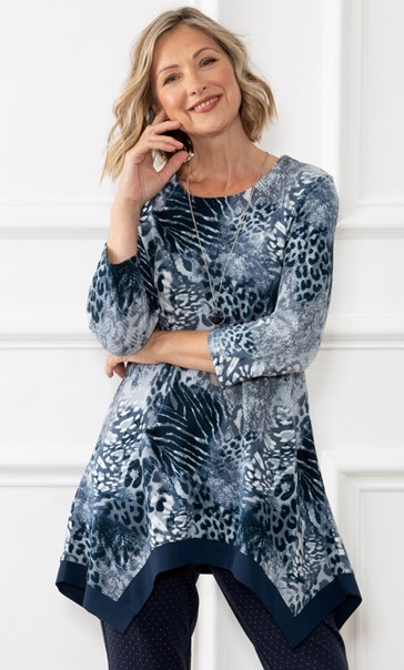 Anna Rose Animal Brushed Knit Tunic With Necklace Navy/Blue/Ivory