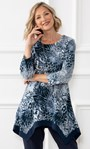 Anna Rose Animal Brushed Knit Tunic With Necklace Navy/Blue/Ivory - Gallery Image 1