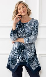 Anna Rose Animal Brushed Knit Tunic With Necklace