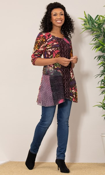 Panelled Knit Long Sleeve Tunic