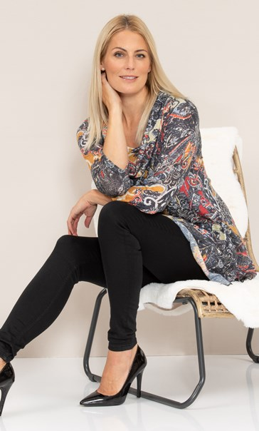 Paisley Print Knitted Cowl Neck Tunic Black/Mustard