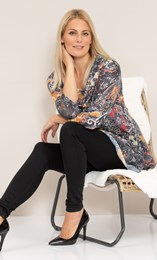 Paisley Print Knitted Cowl Neck Tunic