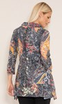 Paisley Print Knitted Cowl Neck Tunic Black/Mustard - Gallery Image 3
