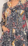 Paisley Print Knitted Cowl Neck Tunic Black/Mustard - Gallery Image 5