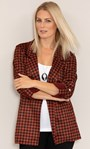 Open Front Suedette Dogtooth Jacket Black/Rust - Gallery Image 1