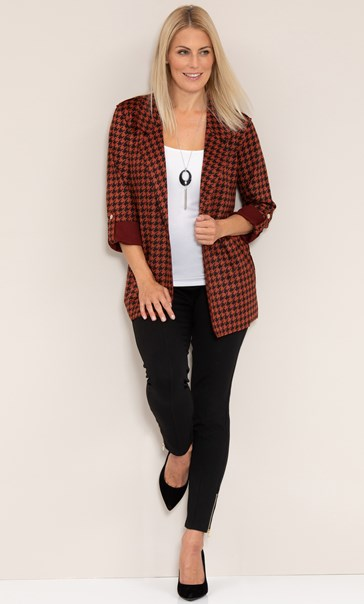 Open Front Suedette Dogtooth Jacket - Black/Rust
