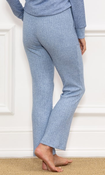 Wide Leg Ribbed Joggers - Blue