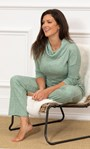 Wide Leg Ribbed Joggers Sage - Gallery Image 1