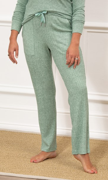 Wide Leg Ribbed Joggers - Sage