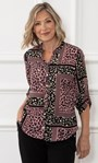 Anna Rose Animal Print Blouse With Necklace Navy/Pink - Gallery Image 1