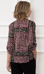 Anna Rose Animal Print Blouse With Necklace Navy/Pink - Gallery Image 2