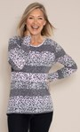 Anna Rose Stripe And Animal Print Knit Top Grey/Pink - Gallery Image 1