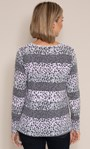 Anna Rose Stripe And Animal Print Knit Top Grey/Pink - Gallery Image 2