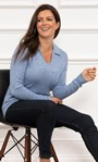 Soft Knitted Collared Top Blue - Gallery Image 1
